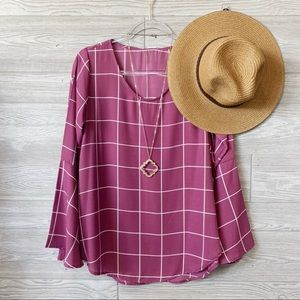 Plum bell sleeve windowpane plaid tunic